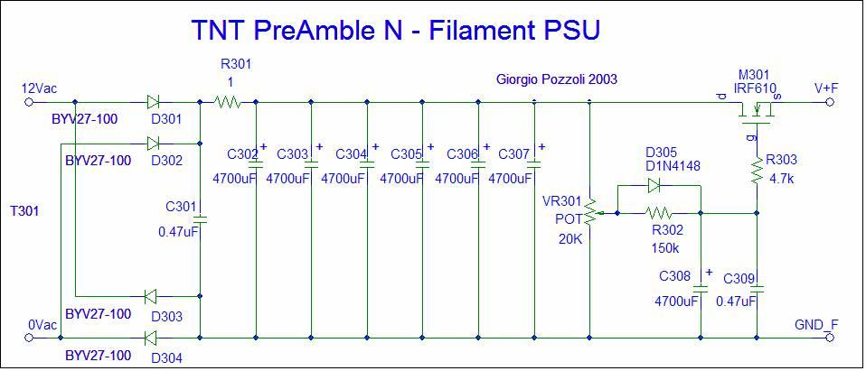 [TNT PreAmble Filament PSU schematic]