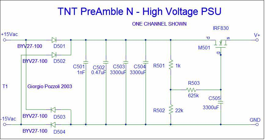 [TNT PreAmble N HV PSU schematic]