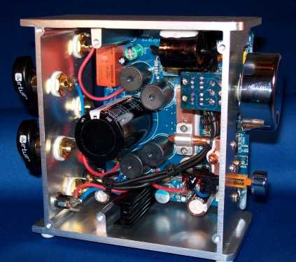 Interior view of the Virtue Audio Virtue.ONE class-T amplifier.