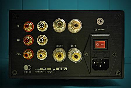 [Rear view of Clones Audio 25i integrated amplifier]