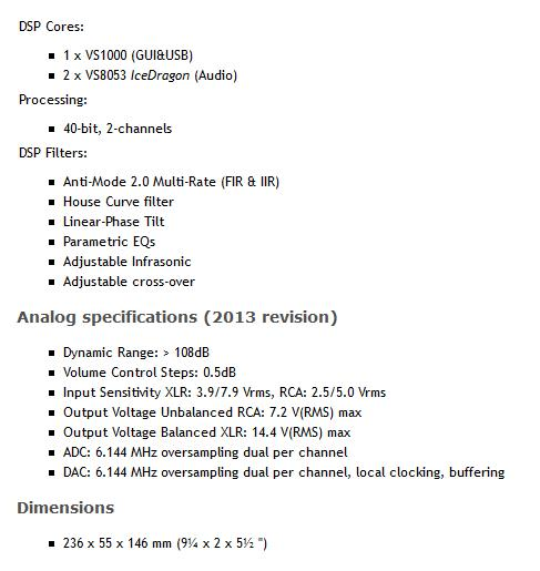 [DSPeaker Anti-Mode 2.0 Dual Core - tech specs]