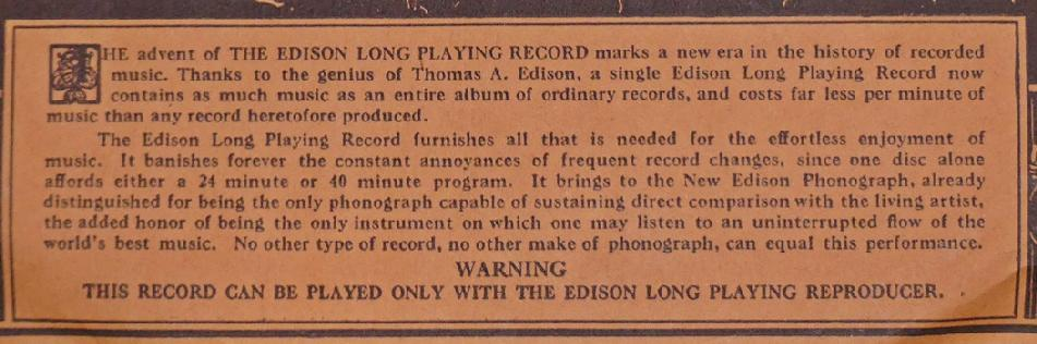 [Edison long playing disc promo]