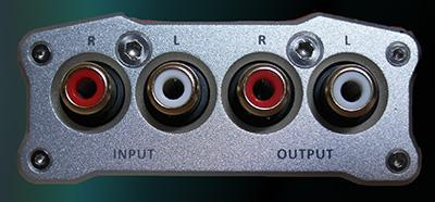 [iFi iTube pre amp/buffer rear panel showing input and output sockets]