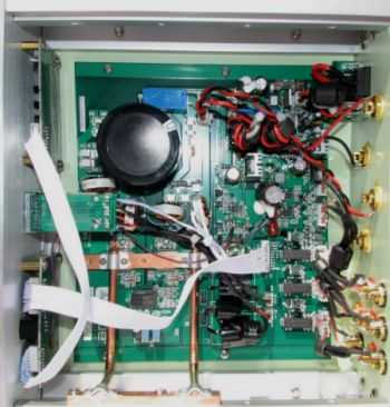 Interior view of Virtue Audio M451 amplifier.
