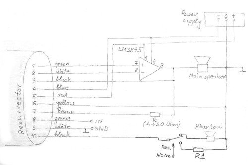 [Resurrector circuit diagram showing external connections to an LM3875 chip]