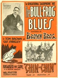[Bullfrog Blues sheet music with Six Brown Bros photos]