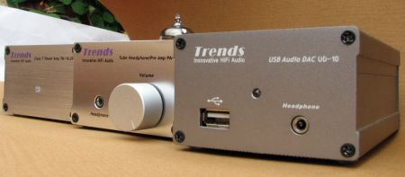 Trends Audio 'system' consisting of UD-10 USB DAC, PA-10 tube pre, and TA-10.2.PP power maplifier.