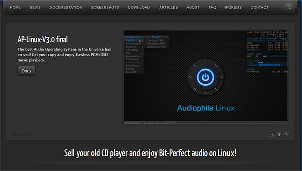 [Audiophile Linux music server operating system screen]