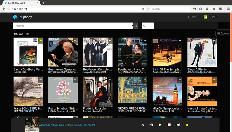 [Euphony Audio Transport user interface screenshot showing albums]