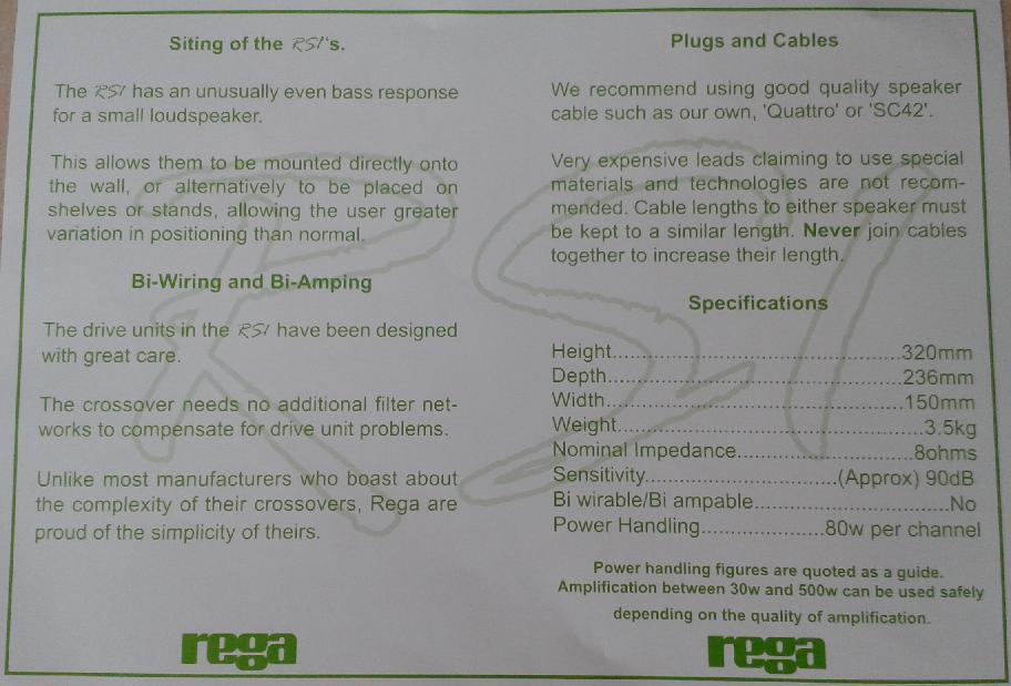 Review Rega Rs1 2 Way Bookshelf Speakers